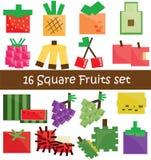 30 Frucht-Ikone im schwarzen Ton Stockbilder