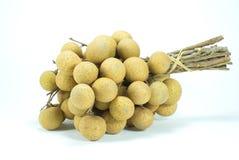 Frucht Longan frisch auf Weiß Stockfotos