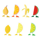 Frucht mit Beinvektorillustration Stockfoto
