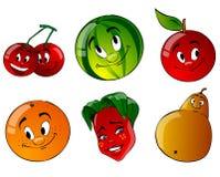 Frucht mit sechs Karikaturen Lizenzfreies Stockfoto