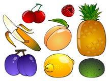 Frucht mit sechs Karikaturen auf einem weißen Hintergrund Lizenzfreie Stockfotografie