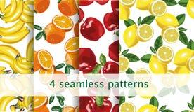Frucht-Mustersatz des Vektors nahtloser Wiederholen des Fruchtmusters Paket, Websitedesign lizenzfreie abbildung