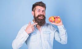 Frucht-Nähren Schließen Sie sich gesundem Lebensstil an Mann mit der Barthippie-Griffapfel-Fruchthand Nahrungstatsachen und Nutze lizenzfreie stockfotos