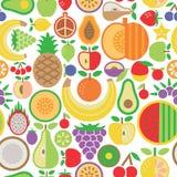 Frucht nahtloser Pattern_Whi-tehintergrund Lizenzfreies Stockbild