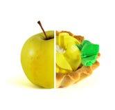 Frucht oder Kuchen, Wahl Getrennt auf weißem Hintergrund Stockfoto
