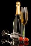 Frucht und Champagner Lizenzfreie Stockfotos