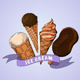 Frucht- und SchokoladenEiscreme Hand gezeichnete Abbildungen stock abbildung