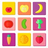 Frucht- und vegetablteikonen Stockfotografie