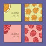 Frucht-Visitenkarte-Schablonen-Sammlung Stockfoto