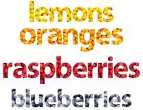 Frucht-Wort-Zusammenfassung Lizenzfreie Stockfotos
