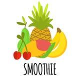 Frucht-Zusammensetzung mit Text Smoothie lizenzfreie abbildung