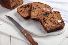 Fruchtebrot, traditional Austrian and German fruit bread stock photos