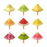 FruchtEiscreme-Ikonensatz Scheiben der Zitrone, Kiwi, Orange, Granatapfel, Pampelmuse, Kalk, Wassermelone, Melone, auf Stöcken Stockbild