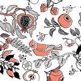 Fruchtgarten mit Vogel. nahtloses Muster Lizenzfreie Stockbilder