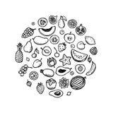 Fruchtgekritzelsatz Stockfoto