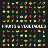 Fruchtgemüse-Beerenpilz pflanzt flache Lebensmittelikonen des Vektors Lizenzfreie Stockfotos