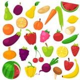 Fruchtgemüse vector gesunde Nahrung der fruchtiger Apfelbanane und vegetably -karotte für das Vegetarieressen organisch Stockfoto