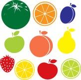 Fruchtikone auf weißem Hintergrund Stockbild