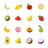 Fruchtikone. Flaches volle Farbdesign. Stockfotos