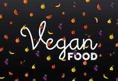 Fruchtikonen mit Lebensmittel-Textaufkleber des strengen Vegetariers entwerfen Stockbild