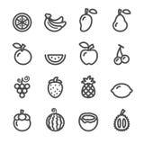 Fruchtikonensatz, Linie Version, Vektor eps10 Lizenzfreie Stockfotos