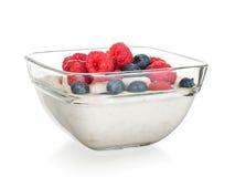 Fruchtjoghurt lokalisiert Lizenzfreie Stockfotografie