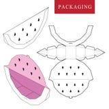 Fruchtkonzeptpaket Vektorillustration des Kastens Paketschablone lizenzfreie abbildung