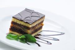Fruchtkuchen mit Schokolade und Belag auf weißer Platte, Süßspeise, Produktfotografie für Konditorei oder Shop Lizenzfreies Stockbild