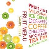 Fruchtmenühintergrund stockfotos
