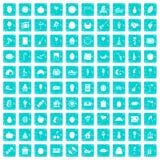 100 Fruchtparteiikonen stellten Schmutz blau ein Lizenzfreies Stockbild