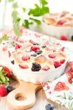 Fruchtpudding (clafoutis) mit Beere lizenzfreie stockfotos