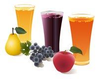 Fruchtsäfte und Frucht Lizenzfreie Stockfotos