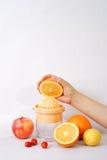 Fruchtsaftmaschine und -hand Stockbilder