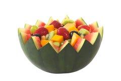 Fruchtsalat in der Melone-Schüssel Lizenzfreies Stockfoto
