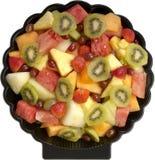 Fruchtsalat-Mehrlagenplatte stockfoto