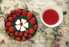 Fruchttee und -erdbeeren Lizenzfreies Stockfoto