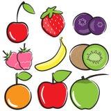 Fruchtvektor-Ikonensatz Stockfotos
