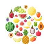 Fruchtvektor-Kreishintergrund Modernes flaches Design Stockfotos