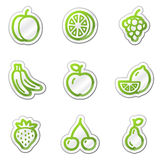 Fruchtweb-Ikonen, grüne Formaufkleberserie Lizenzfreies Stockfoto