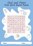 Fruchtwort-Suchpuzzlespiel für Kinder Stockbilder