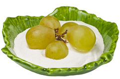 Fructose. Raw fructose with white greapevines royalty free stock photography