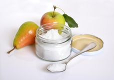 Fructose, or fruit sugar. With fruit. Fructose, or fruit sugar in glass jar. With fruit stock photography