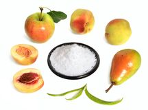 Fructose, or fruit sugar on plate. With fruit. Fructose, or fruit sugar on plate. With fruit royalty free stock image