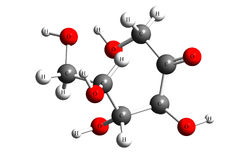 Fructose, 3S,4R,5R-1,3,4,5,6-pentahydroxyhexan-2-one. Fructose, or fruit sugar, is a simple ketonic monosaccharide found in many plants, where it is often bonded Royalty Free Stock Photography