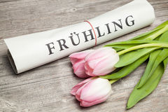 fruehling written on newspaper Royalty Free Stock Photos