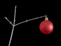 Frugal Christmas background. Over black. One red bauble on DIY spray-painted twig. Cutbacks etc stock photos