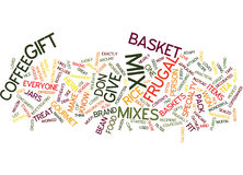 Frugal Gift Baskets Text Background  Word Cloud Concept Stock Photos