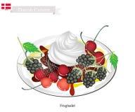 Frugtsalat或水果沙拉,一个普遍的点心在丹麦 库存例证