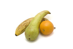 Fruit. An apple, banana and orange on a white background Royalty Free Stock Photos