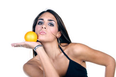 Fruit. Girl with grapefruit Stock Image